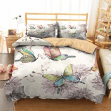 Double Bedding Comfotable Bed Linen Sets Chinese Painting Printed Duvet Cover Butterfly Bedroom Clothes with Pillowcases