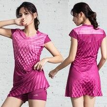 Женское Спортивное платье с защитными брюками, женские платья для тенниса с шортами, платье для бадминтона, спортивная одежда для тренажерн...