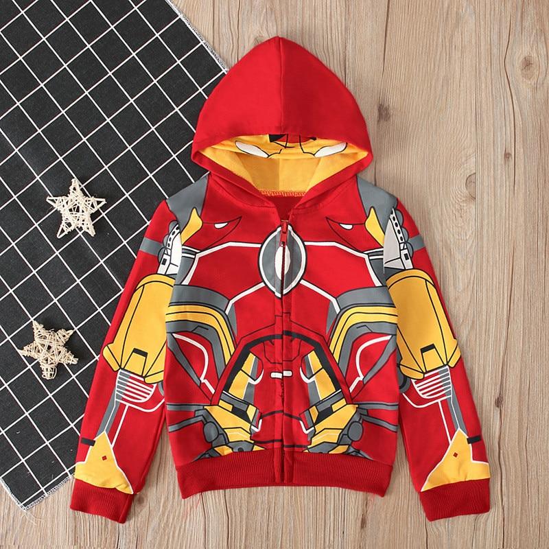 Halloween Party Iron Man Costume For Kid Boy Cosplay Superhero Iron Man Zipper Hoodies Child Autumn Coat Birtyday Christmas Gift