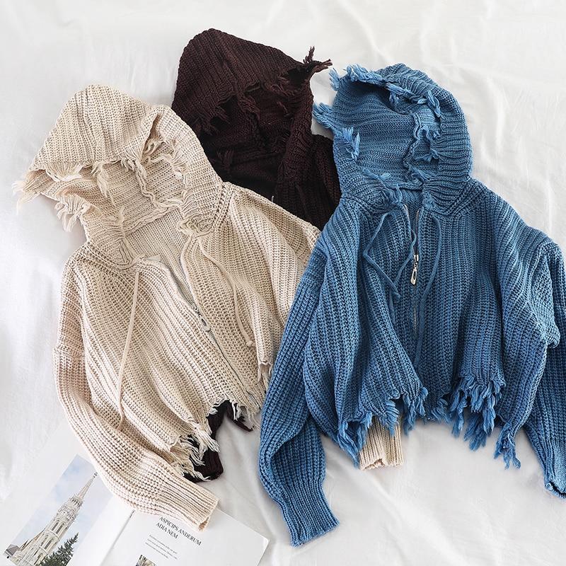 Mooirue Autumn Irregular Hooded Sweater Women Long Sleeve Zipper Vintage Harajuku Streetwear Korean Style  Cardigan