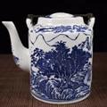 Цзиндэчжэнь фарфор синий и белый фарфор горная река пейзаж чайник с узором горшок для воды фарфоровый чайник украшение дома