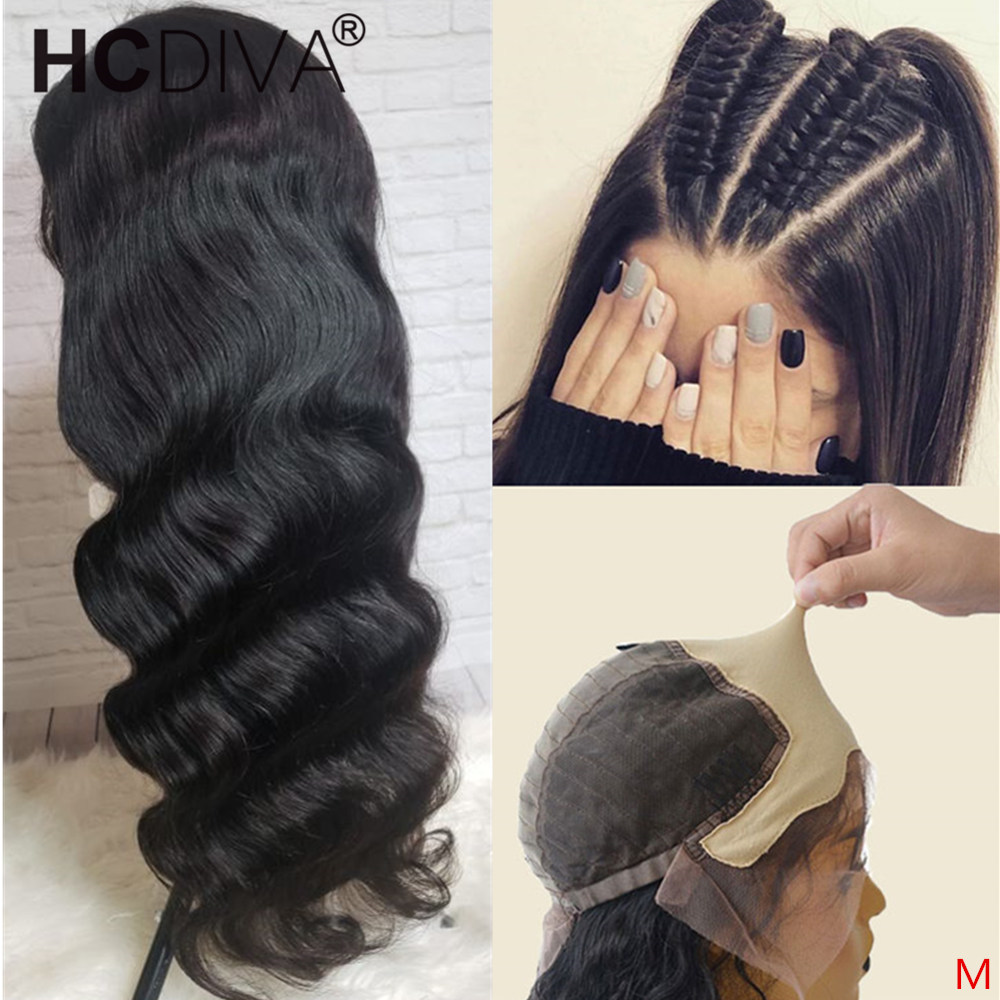 Body Wave Fake Scalp Wig 13*4 Lace Front Human Hair Wig Invisible Brazilian Remy Pre Plucked Bleached Knots Transparent Lace Wig
