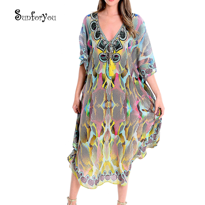 Large Chiffon Beach Cover Up Plus Size Bikini Cover Up Saida De Praia Vestidos Mujer 2020 Maxi Dress Pareos De Playa Mujer
