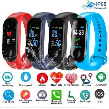 Zegarek sportowy Monitor ciśnienia krwi wiadomość z przypomnieniem Bluetooth wodoodporna bransoletka dla mężczyzn i kobiet nadgarstek dla dzieci tanie i dobre opinie nanoleaf 26inch Z tworzywa sztucznego 3Bar Cyfrowy Klamra Prostokąt 19mm Smart wristband Papier Cyfrowe Zegarki Na Rękę