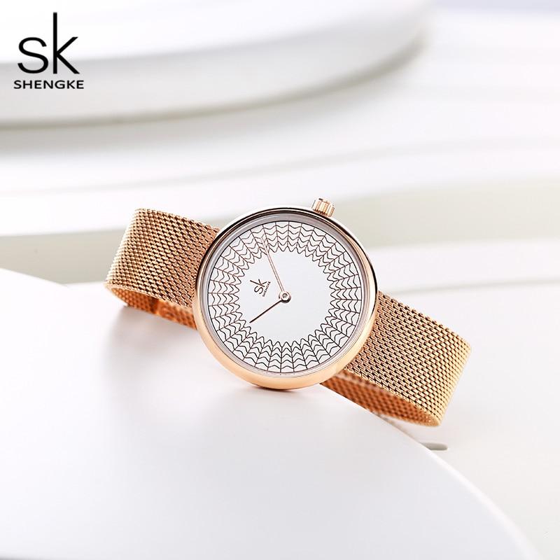 Image 4 - Shengke robe femmes montres femmes métal maille mode horloge Vintage Design dames montre 2020 SK marque de luxe classique relogioMontres femme   -