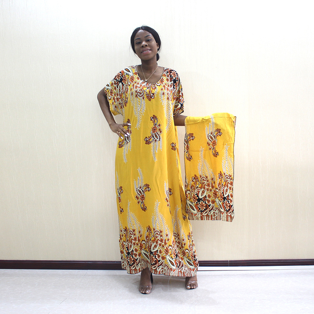 2019 Newest Arrivals Fashion African Dashiki Gold Pure Cotton Flower Print Plus Size Casual Women Dress With Scarf