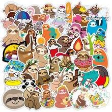 50 pçs/set preguiçoso bonito sloths adesivos à prova dscrapágua scrapbooking diário diy papelaria adesivos de viagem bagagem adesivo