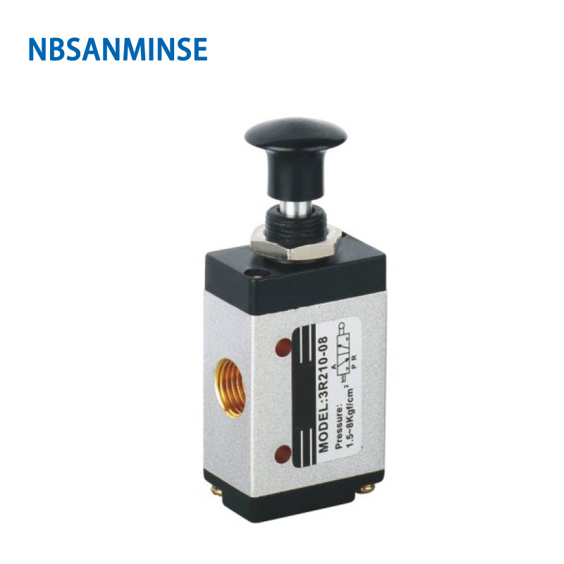 NBSANMINSE 3R / 4R Two Position Five Way Hand Draw Valve Pull G 1/8 1/4 3/8 1/2 Control Manual  Pneumatic Parts