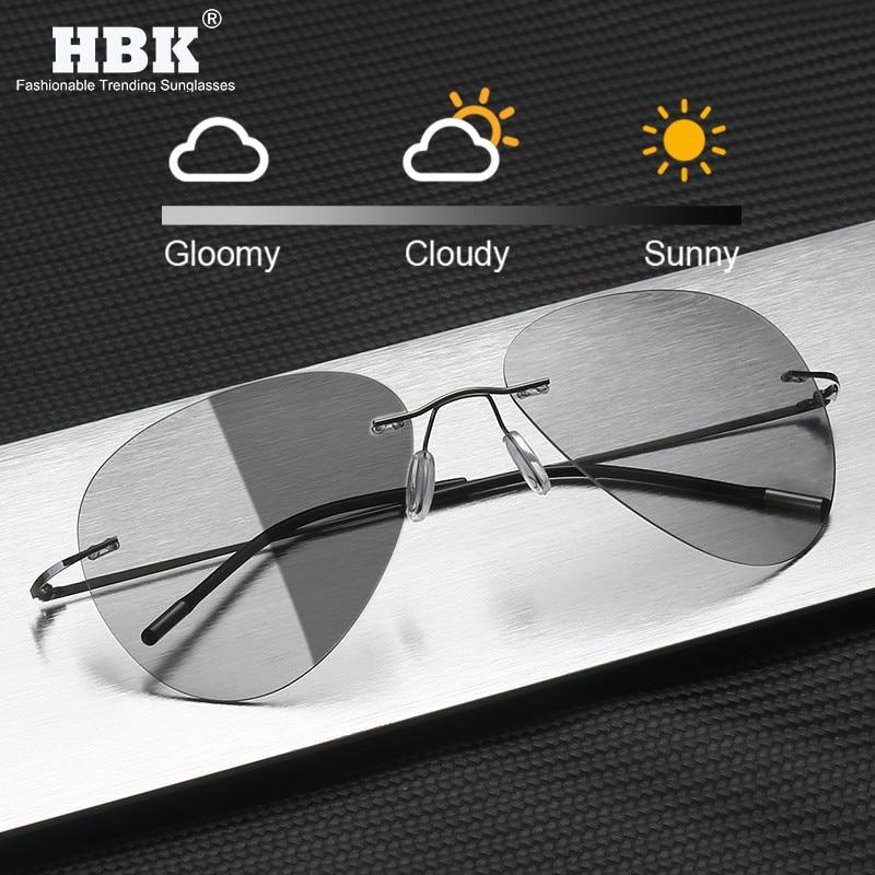 Pilot Rimless Titanium Polarized Sunglasses Men Vintage Ultralight Brand Designer Metal Photochromic Sun Glasses For Women