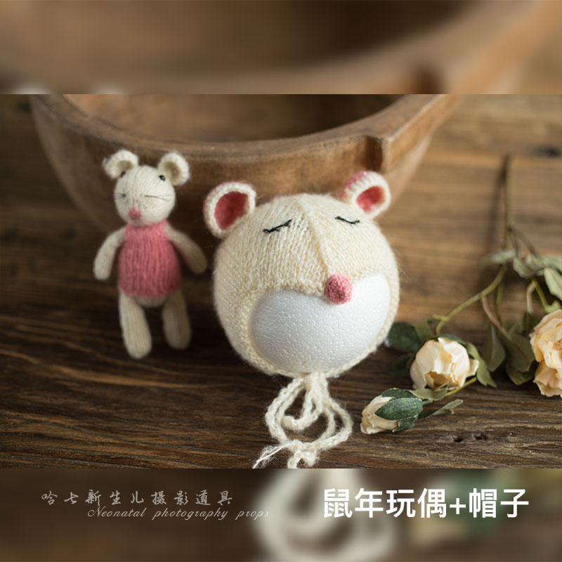 2020 Handmade Newborn Photography Mouse Hat Set Baby Photoshooting Props Knitted Mohair Hat Infant Photo Studio Hat And Cap Acce