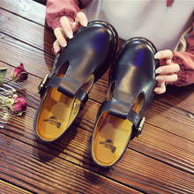 2020 Shoes Women Leather Mary Jane Shoes Thick Bottom Flat Platform Martin Shoes Spring Autumn Causal Women Shoes Flats Oxfords socofy vintage printed flat shoes women flats genuine leather retro flower platform shoes woman heel mary jane flats new fashion