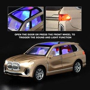Image 3 - 1:24 nowy BWM X7 aluminiowy Model samochodu Diecasts pojazdy zabawkowe symulacja światła dźwięk wycofać zabawki dla dzieci kolekcje darmowa wysyłka