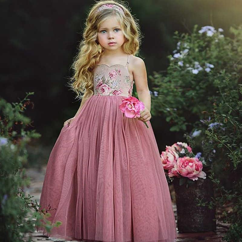 Flower Kids Girls Princess Tutu Dress Floral Summer Bridesmaid Birthday Party
