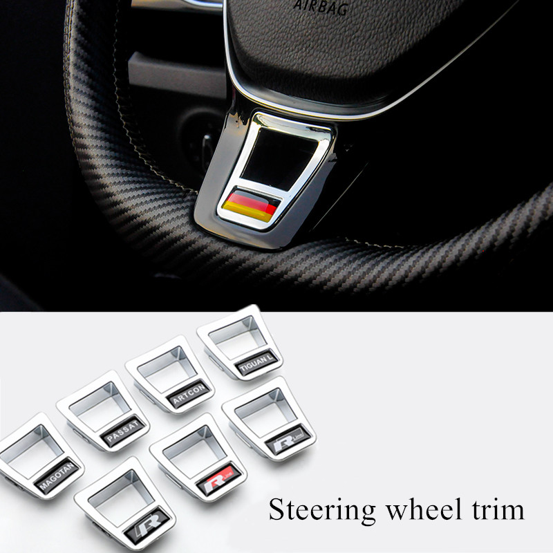 Car Styling Steering Wheel Covers Stickers Accessories For Volkswagen GOLF 7 GTi MK7 POLO 2014 2015 Passat B7 2015 B8 MK6 Jetta