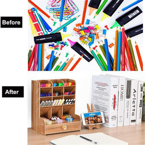 Image 5 - Wooden Desk Organizer Multi Functional DIY Pen Holder Box Desktop Stationary Home Office Supply Storage Rack