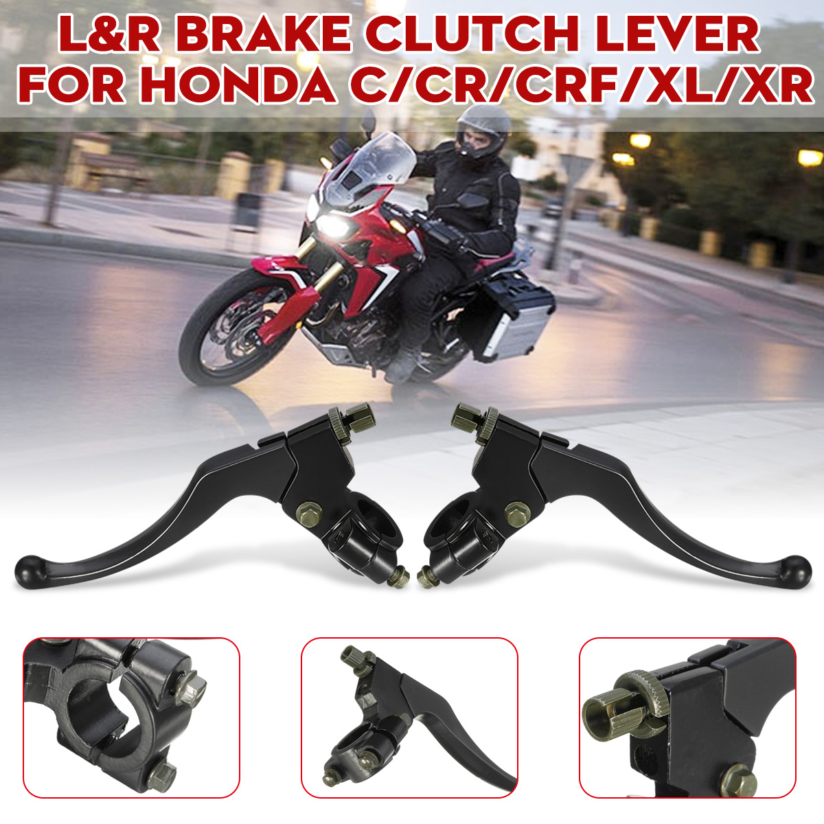 Black Left/Right Front Motorcycle Motorbike Brake Lever Perch Clutch For HONDA C/CR/<font><b>CRF</b></font>/XL 1977-2011 <font><b>2012</b></font> 2013 2014 2015 2016 image