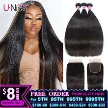 UNice Hair 5X5 HD dentelle fermeture 28 30 pouces avec cheveux raides péruviens 3 paquets 4 pièces 4x4 dentelle suisse cheveux humains armure Remy cheveux