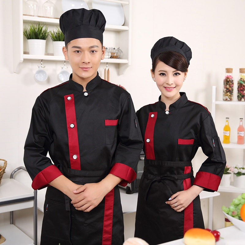 Food Service Black White Red Chef Jacket Restaurant Hotel Kitchen Cook Uniform Clothes Chinese Style Chef Uniform  B004