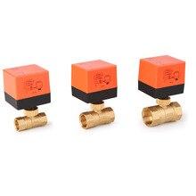 Válvula de bola eléctrica AC220V DN15 50 válvula de bola eléctrica de 3 cables y 2 vías de Control de vía hilo de latón, válvula de bola motorizada estable