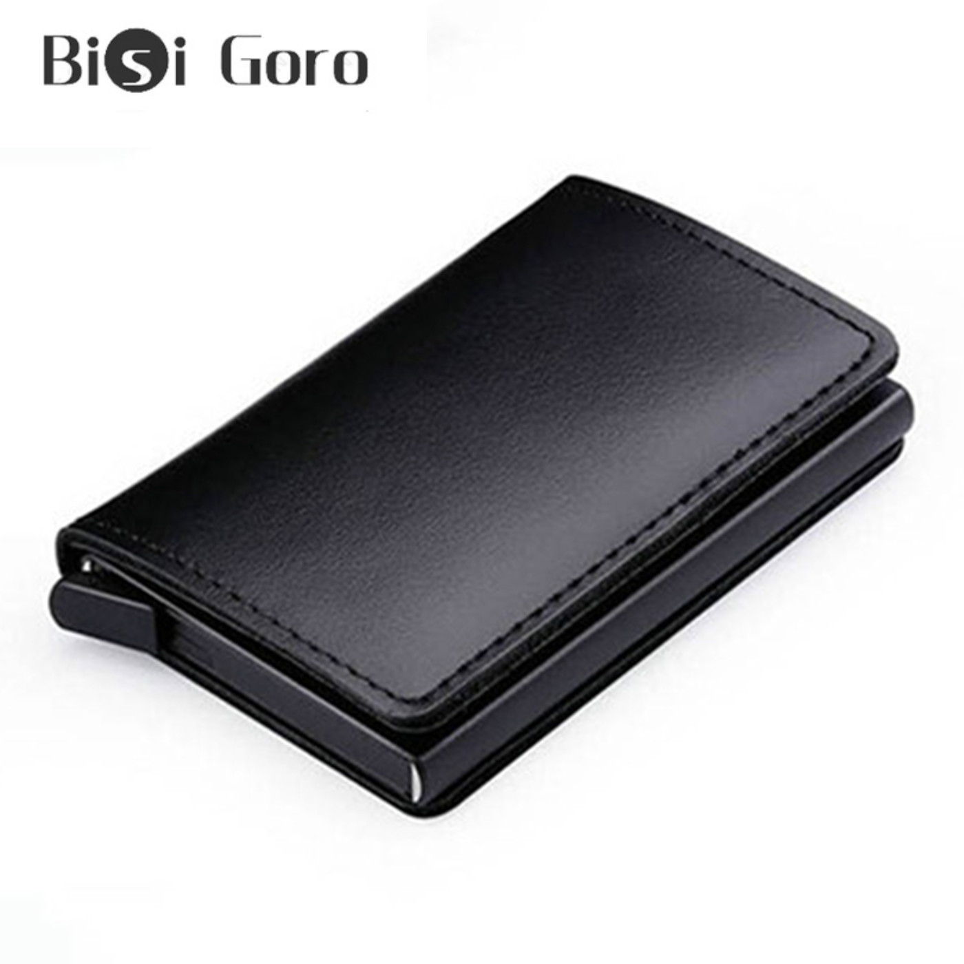 BISI GORO New Genuine Leather Wallet Slim Business Card Holder RFID Blocking Mini Purse Vintage Anti-theft Mini Thin Card Wallet