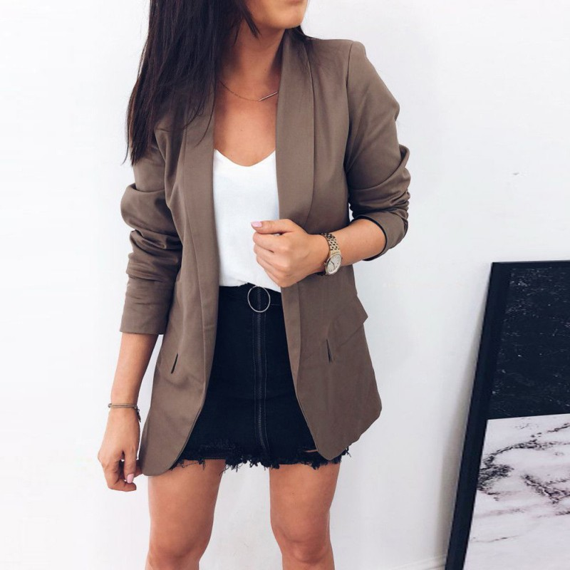 Office Lady Slim Blazers Women Jacket Suits Solid Blazers Female None Button Business Notched Blazer Coat