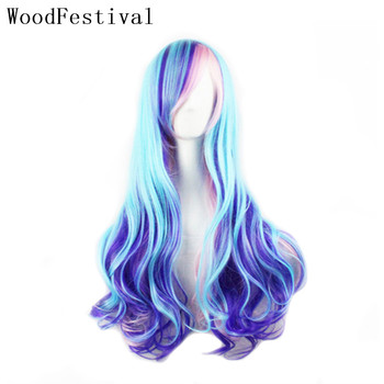 WoodFestival Colored Cosplay Women' Wigs for Women Rainbow Pink Blue Heat Resistant Synthetic Hair Wig with bangs Wavy Long woodfestival 20inch women wigs hair heat resistant black to navy blue curly synthetic wig cosplay
