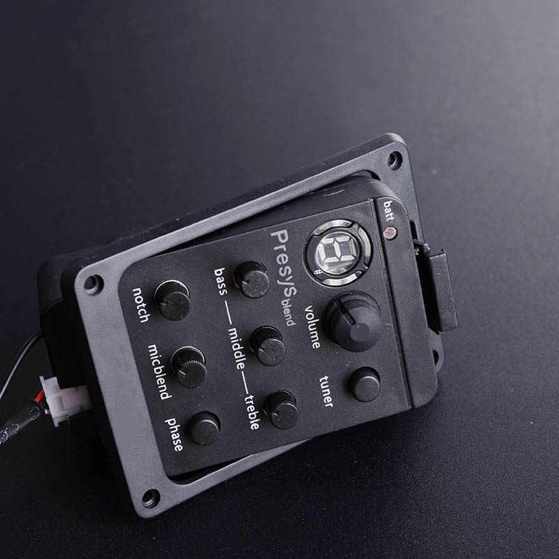 Guitare acoustique 4 bandes micro guitare préampli égaliseur avec accordeur Microphone Piezo Endpin Jack connecter guitare amplificateur pick-up
