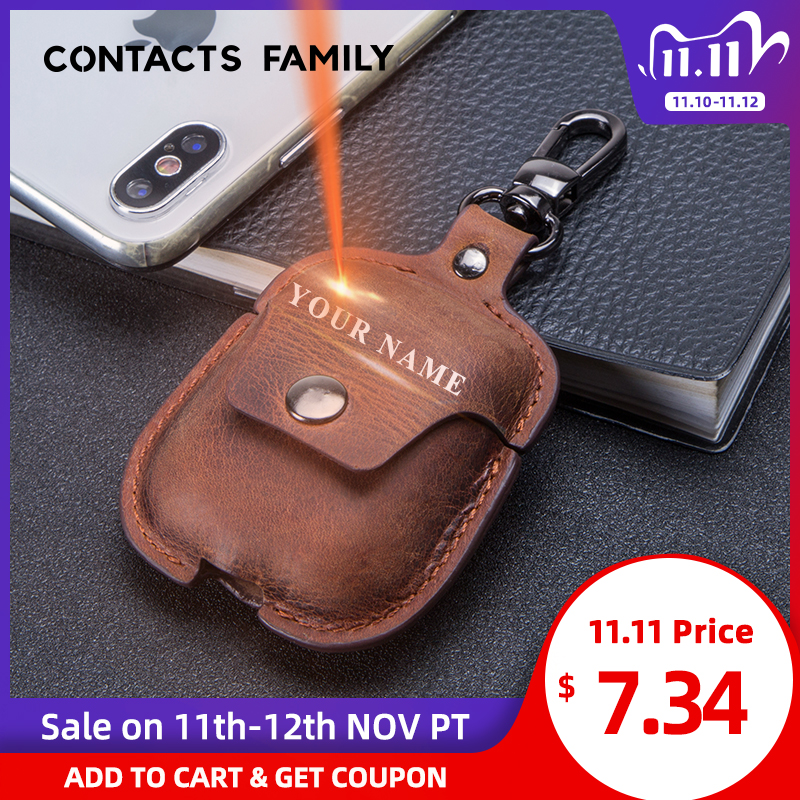 Genuine Leather Bluetooth Wireless Earphone Case For AirPods 2 Protective Cover Skin Accessories For Apple Airpods Charging Box