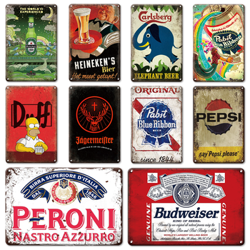 ヴィンテージイエガーマイスターすずビールコーラ金属看板金属装飾プレート Hoom パブバー男洞窟キッチンリビングルーム装飾