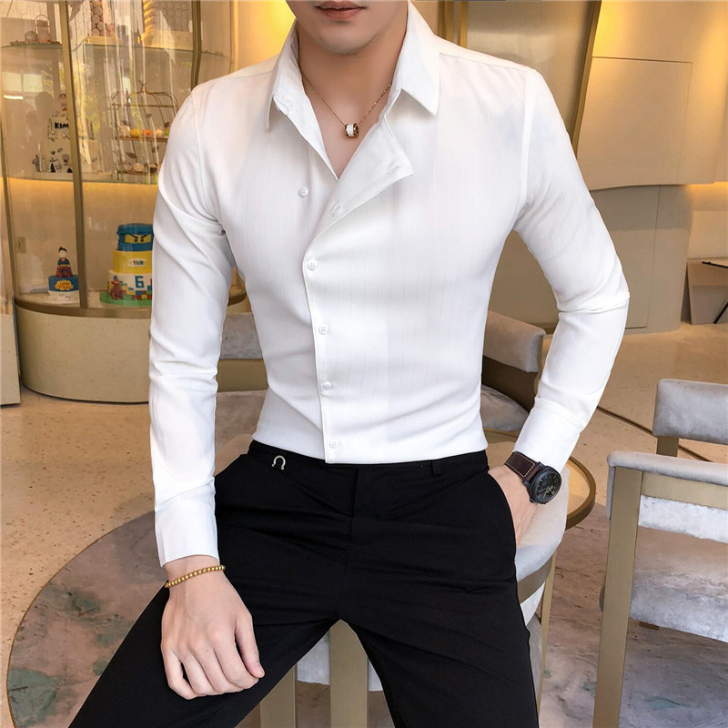 2019 Fashion Designer Tilt Button Shirt Men's Long Sleeve Casual Business Shirt Club Clothing Men's Slim Solid Color Dress Shirt