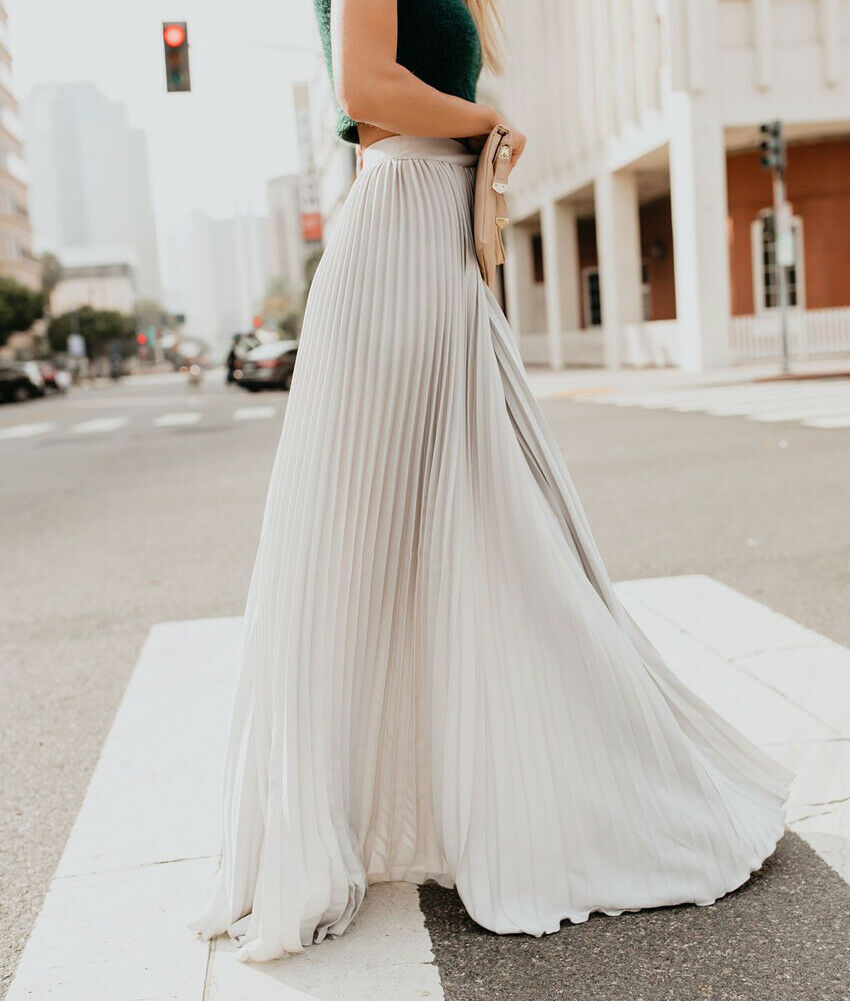 Newest Fashion Women High Waist Chiffon Skater Flared Pleated Swing Long Skirt Ladies Elastic Waist Boho Pleated Long Skirt