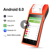 Bluetooth Android POS Terminal Wifi Wireless Built in Thermal Printer 58mm Camera barcode Scanner PDA device GZPDA03