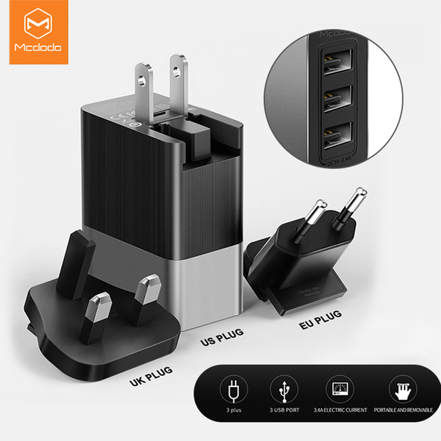 Mcdodo USB Ladegerät EU/US/UK 3 in 1 Universal Travel Handy USB Ladegerät Schnelle 3.4A Lade wand Ladegerät Für iPhone Huawei