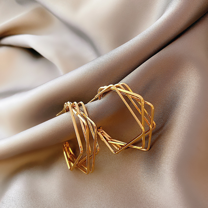 Statement-Earrings Wedding-Accessories Party Jewelry Square Geometric Gold Metal Women