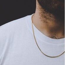 Ассорти Стиль нержавеющая сталь мужская цепочка на шею для мужчин женщин Пшеница Куба Змея коробка звено ожерелье s 2-6 мм в ширину