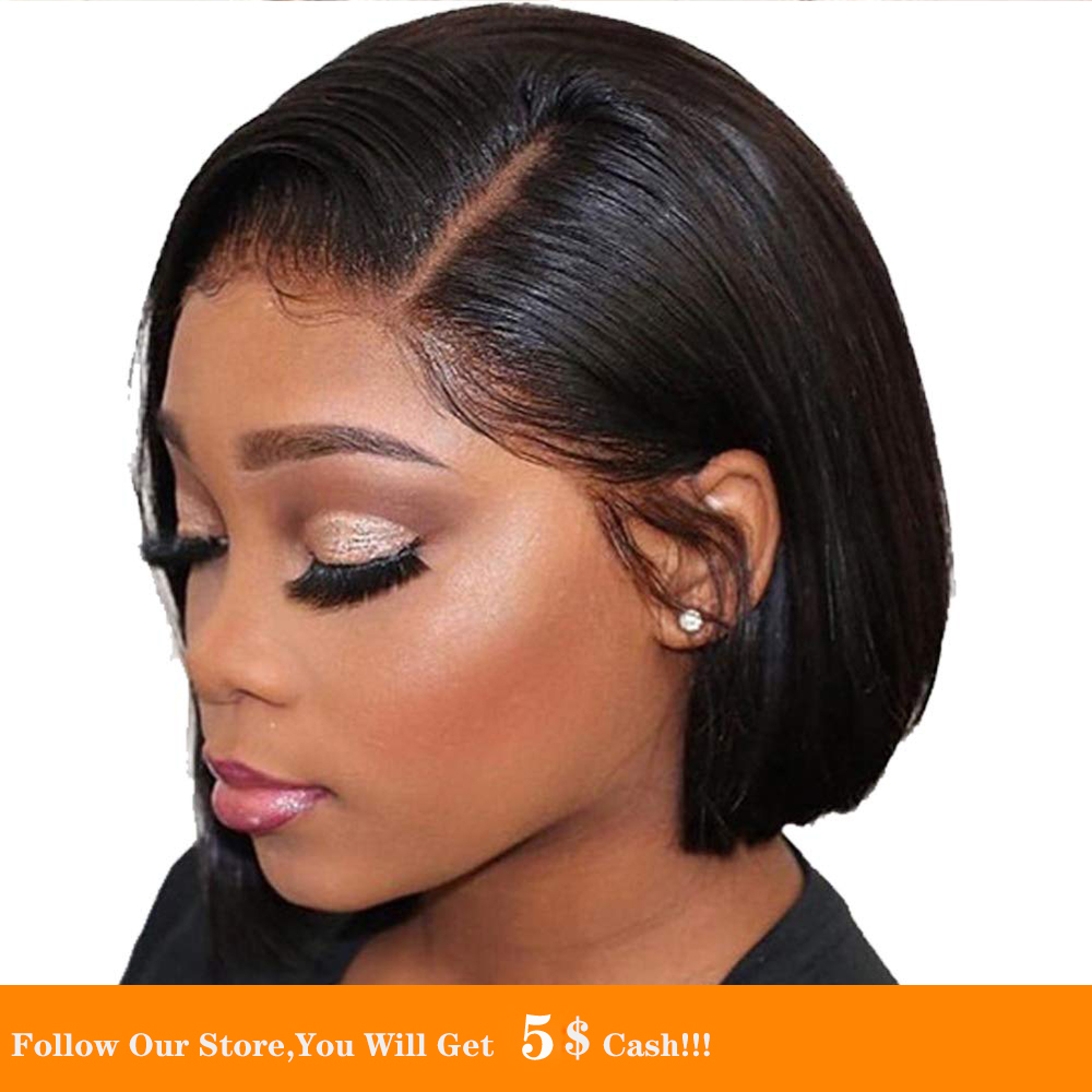 13x4 Synthetic Lace Front Wigs Short Black Bob Straight Transparent Wigs Silky Natural Hairline Pre Plucked With Baby Hair