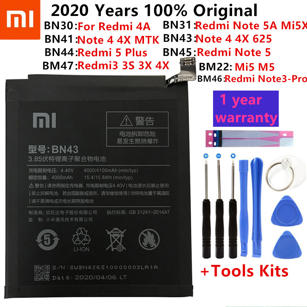 Original XiaoMi Replacement Battery For Xiaomi Redmi 3 3S 3X 4X 4A 5A 3 Pro 5 Plus Note 3 4 4X 5 5A 6 7 Pro Mi5 Mi 8 5X Battery