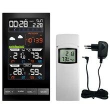 محطة الطقس داخلي في الهواء الطلق منبه رقمي ساعة حائط درجة الحرارة الرطوبة ضغط الرياح توقعات الطقس LCD ساعة تنبيه