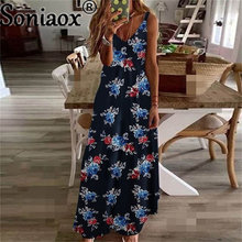 2021 Summer Women Flowers Print Dress Boho Style Sling Casual Fashion Large Swing Ladies A-Line Dress Multiple Colour Clothes