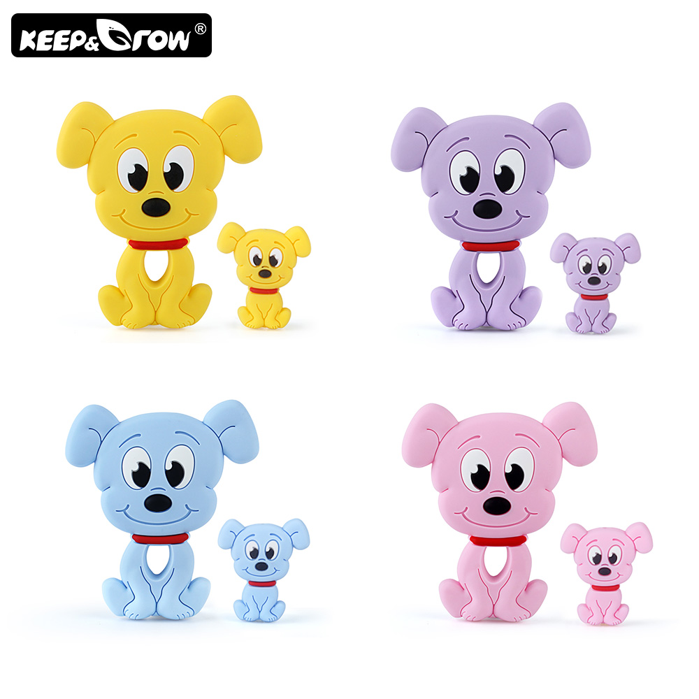 Keep&Grow 2pcs/set Rodents Baby Silicone Teether Food Grade Dog Silicone Beads DIY Teething Toys Perle Silicone Baby Products