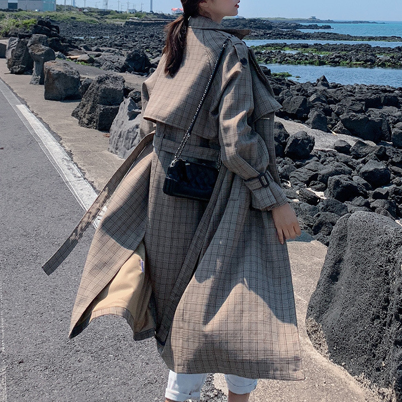 2020 NEW Fashion Spring Autumn Long Trench Coats Women's Clothing Vintage Long Sleeve Plaid Windbreaker With Belt Overcoat XA142