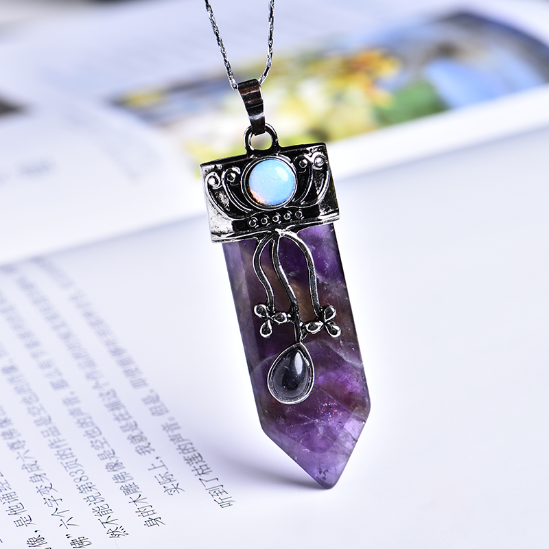 1PC Natural Stone Pendant Real Special Status Purple Rose Quartz Crystal Color Pendant Men's Women's Gem Pendant