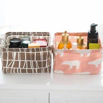 1PC Cotton Linen Foldable Desktop Sundries Storage Basket Square Waterproof Toy Book Organizer Cosmetic Bucket Laundry Basket
