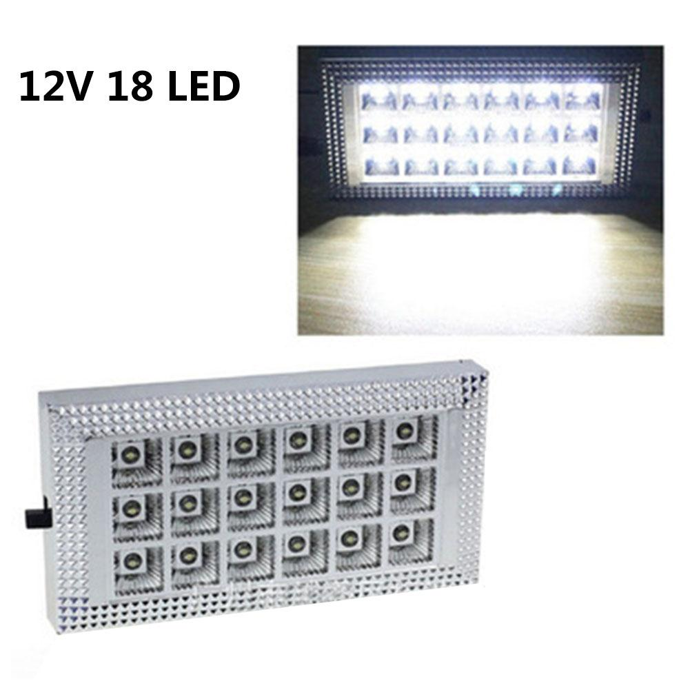 DC 12V 18 LED Car Truck Vehicle Auto Dome Roof Ceiling Interior Light Lamp White With On/Off Switch For Cars Vans Camper Vans