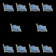 10PCS Fashion Greece Flag Badge Flag Lapel Pins Brooch Emblem Medal Pins
