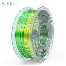 Sunlu 1.75 filamento de seda pla para impressora 3d textura de seda plástico pla 3d filamento arco-íris 3d materiais de impressão