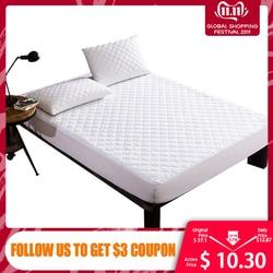 Capa de cama escovado tecido acolchoado colchão protetor à prova dwaterproof água colchão topper para cama anti-ácaro colchão capa copri rete letto