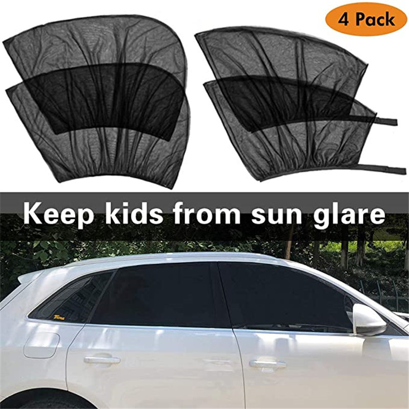 4 Pack Summer UV Protection Car Front Rear Side Window Sun Shade Anti-mosquito Car Sunshade Net Mesh Curtain For Sedan SUV MPV