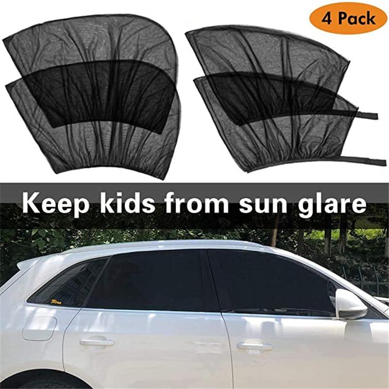 4 Pack Summer UV Protection Car Front Rear Side Window Sun Shade Anti-mosquito Car Sunshade Net Mesh Curtain For Sedan SUV MPV
