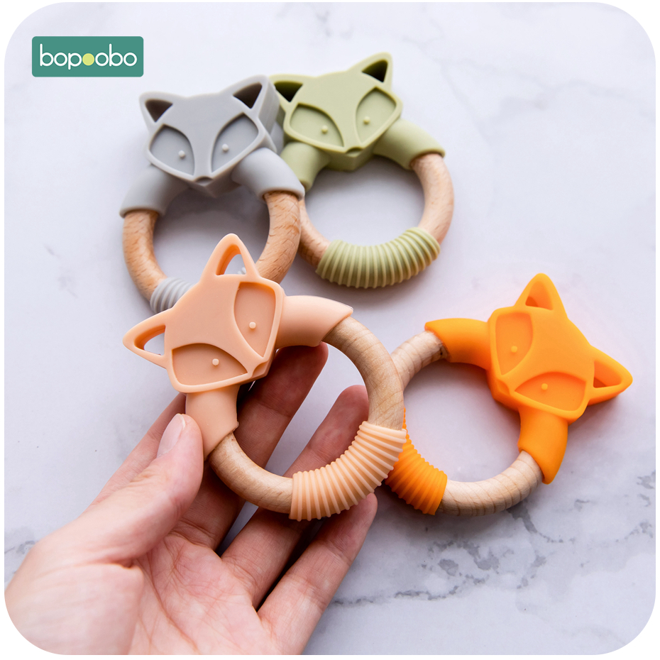 Bopoobo 1pc Baby Teether Silicone Animals Wooden Rings Teether Rodents Beech Wood Infant Rabbit Elephant Fox Rings Baby Products